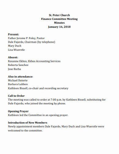 Church Business Meeting Minutes Template Inspirational Free 15 Church Meeting Minutes Examples & Templates [download now]