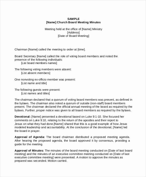 Church Business Meeting Minutes Template Lovely Church Annual Business Meeting Minutes Template Templates Resume Examples Xrgqkk9yl9