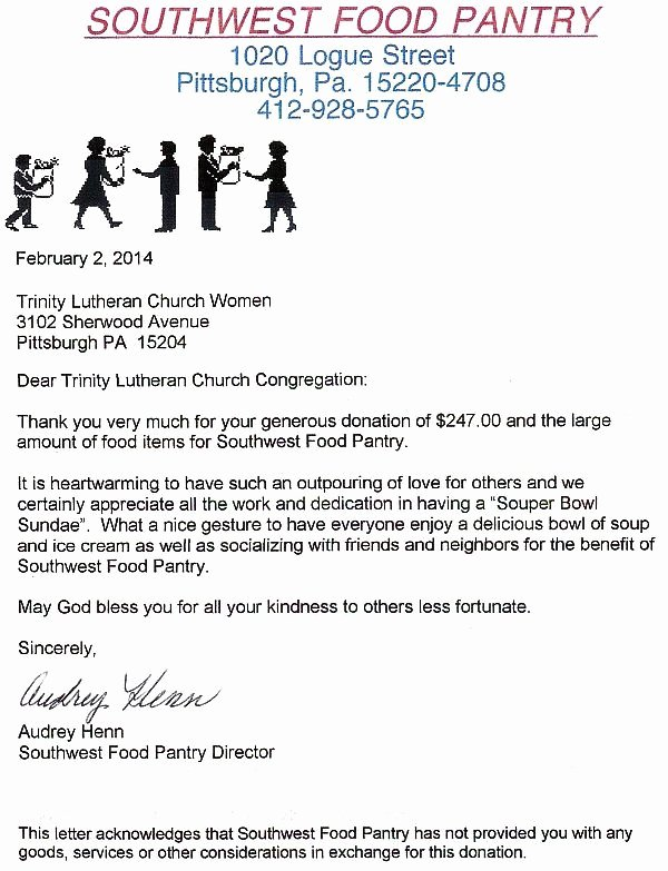 Church Donation Letter for Food Beautiful Pittsburgh Lutheran United Ministries Plum Trinity Evangelical Lutheran Church Of Sheraden
