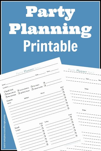 Church event Planning Worksheet Awesome Free Party Planner Printable Nourishing Minimalism