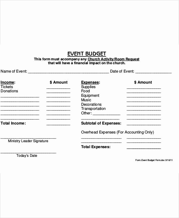 Church event Planning Worksheet Best Of Sample Bud form