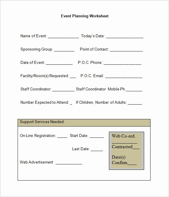 Church event Planning Worksheet New 5 event Planning Worksheet Templates Free Word Documents Download