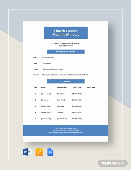 Church Meeting Minutes Template Awesome 94 Free Meeting Minutes Templates In Google Docs