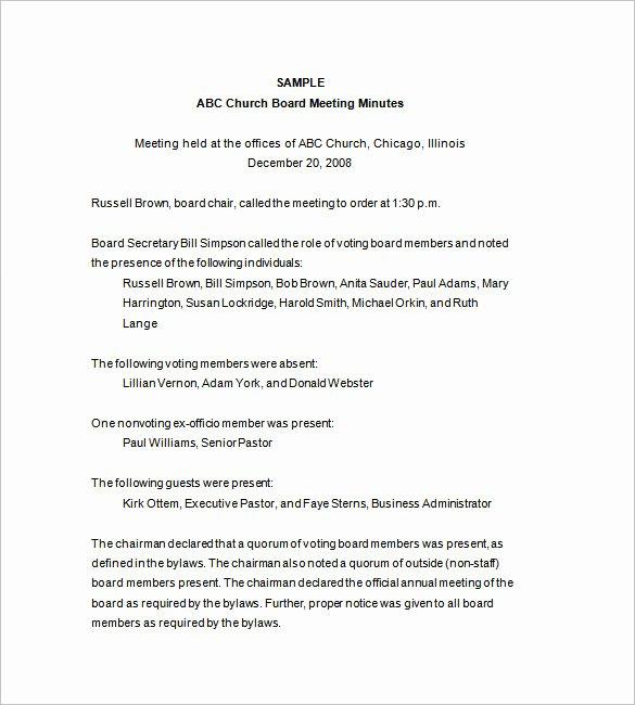 Church Meeting Minutes Template Inspirational Mittee Meeting Minutes Template 14 Free Word Pdf Download