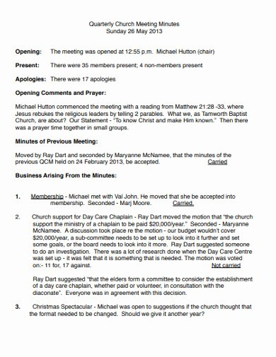 Church Meeting Minutes Template Unique Free 15 Church Meeting Minutes Examples & Templates [download now]