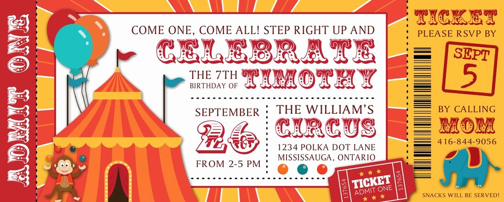 Circus Invitation Template Free Awesome Circus Ticket Birthday Party Invitation Baby Shower