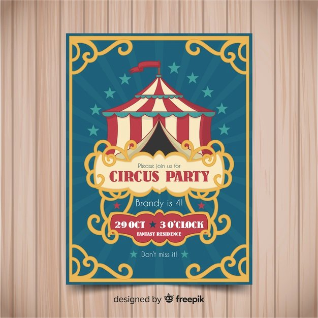 Circus Invitation Template Free Awesome Vintage Circus Party Invitation Card Template Vector