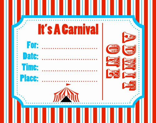 Circus Invitation Template Free Beautiful Free Carnival Ticket Template Download Free Clip Art
