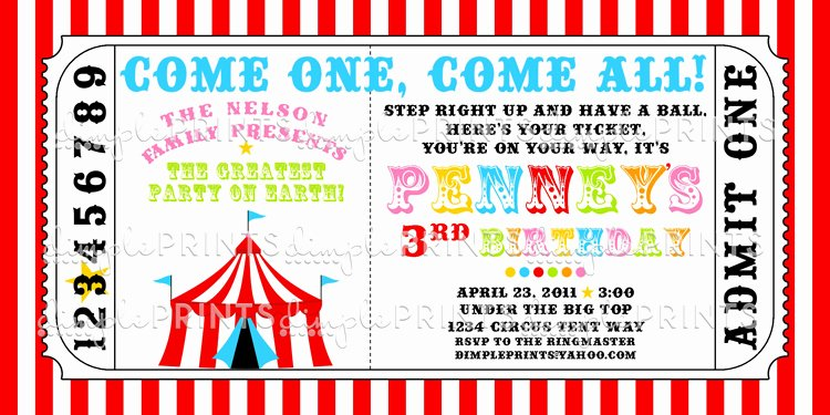 Circus Invitation Template Free Best Of Circus Tent Ticket Printable Invitation Dimple Prints Shop