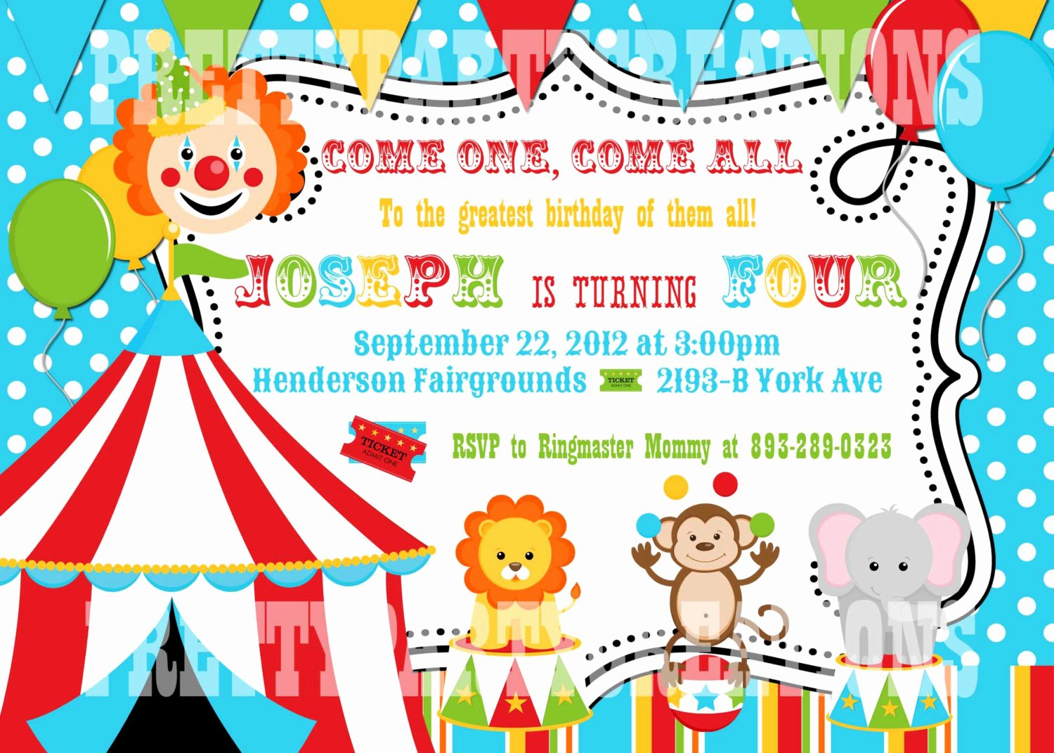 Circus Invitation Template Free Inspirational Colorful Circus Birthday Invitation You Print Digital File