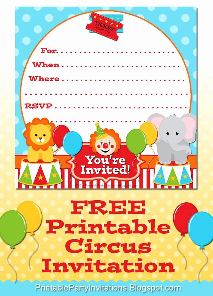 Circus Invitation Template Free Inspirational Free Printable Circus Party Invitation
