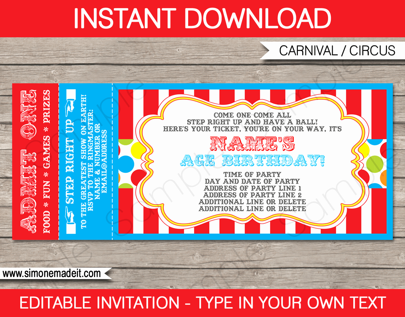 Circus Invitation Template Free Lovely Carnival Ticket Invitation Template