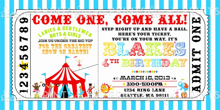 Circus Invitation Template Free Lovely Circus Train Ticket Birthday Invitation Dimple Prints Shop