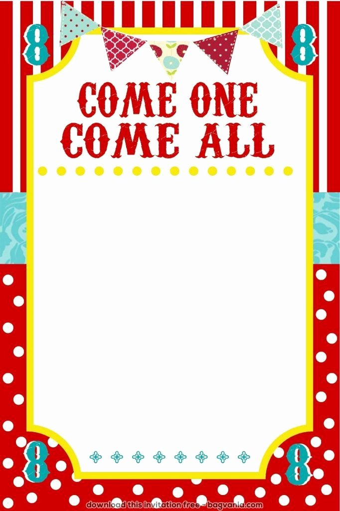 Circus Invitation Template Free Lovely Free Carnival Birthday Invitations – Bagvania Free