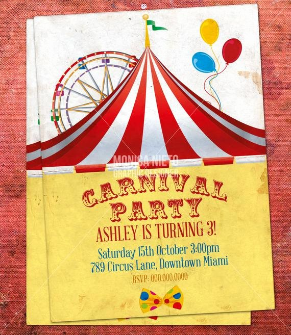 Circus Invitation Template Free New Custom Printable Carnival Circus Birthday Invitation Retro