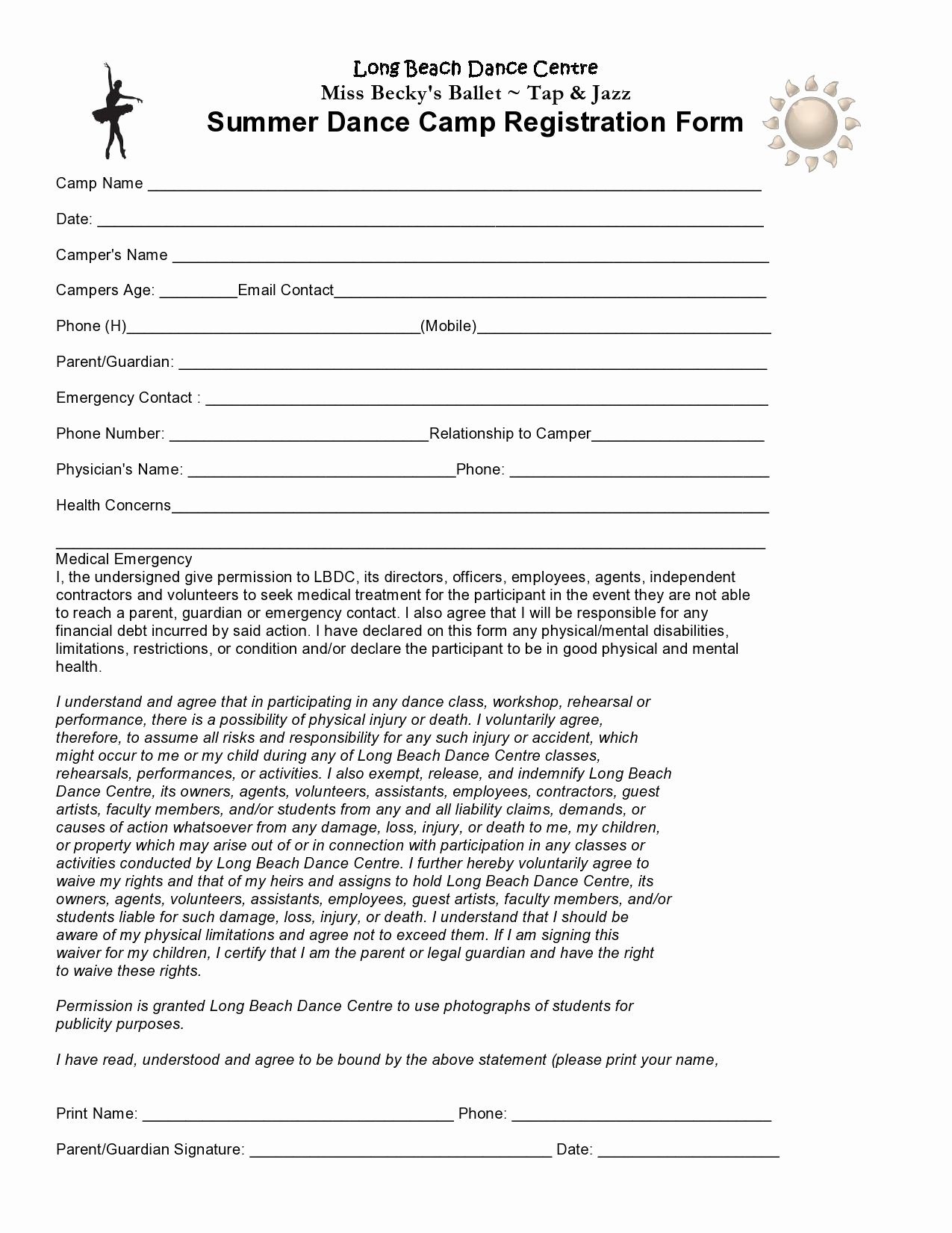Class Registration form Template Elegant Pin by Taryn Lee On Kids Dance Camp In 2019
