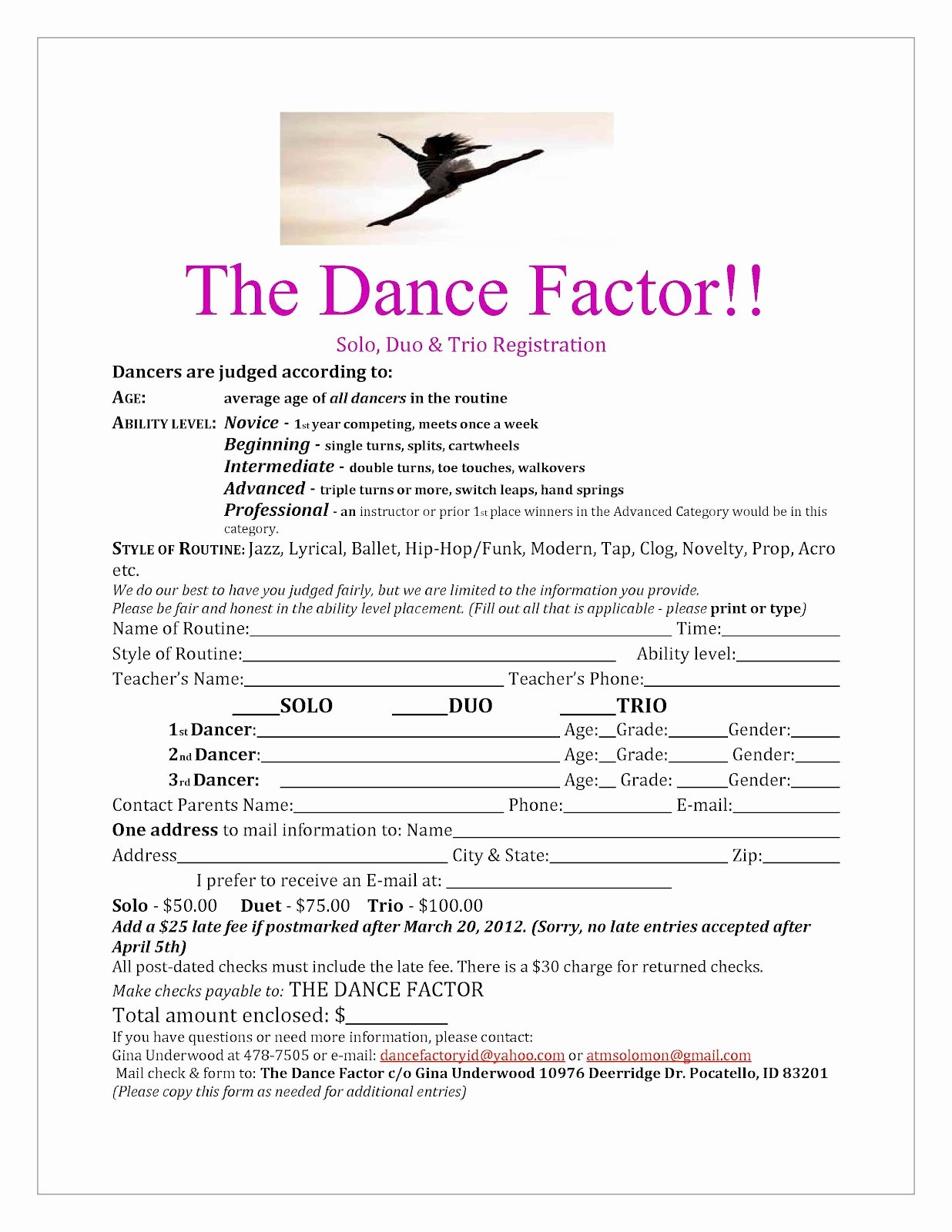 Class Registration form Template Lovely 25 Of Dance Class Template