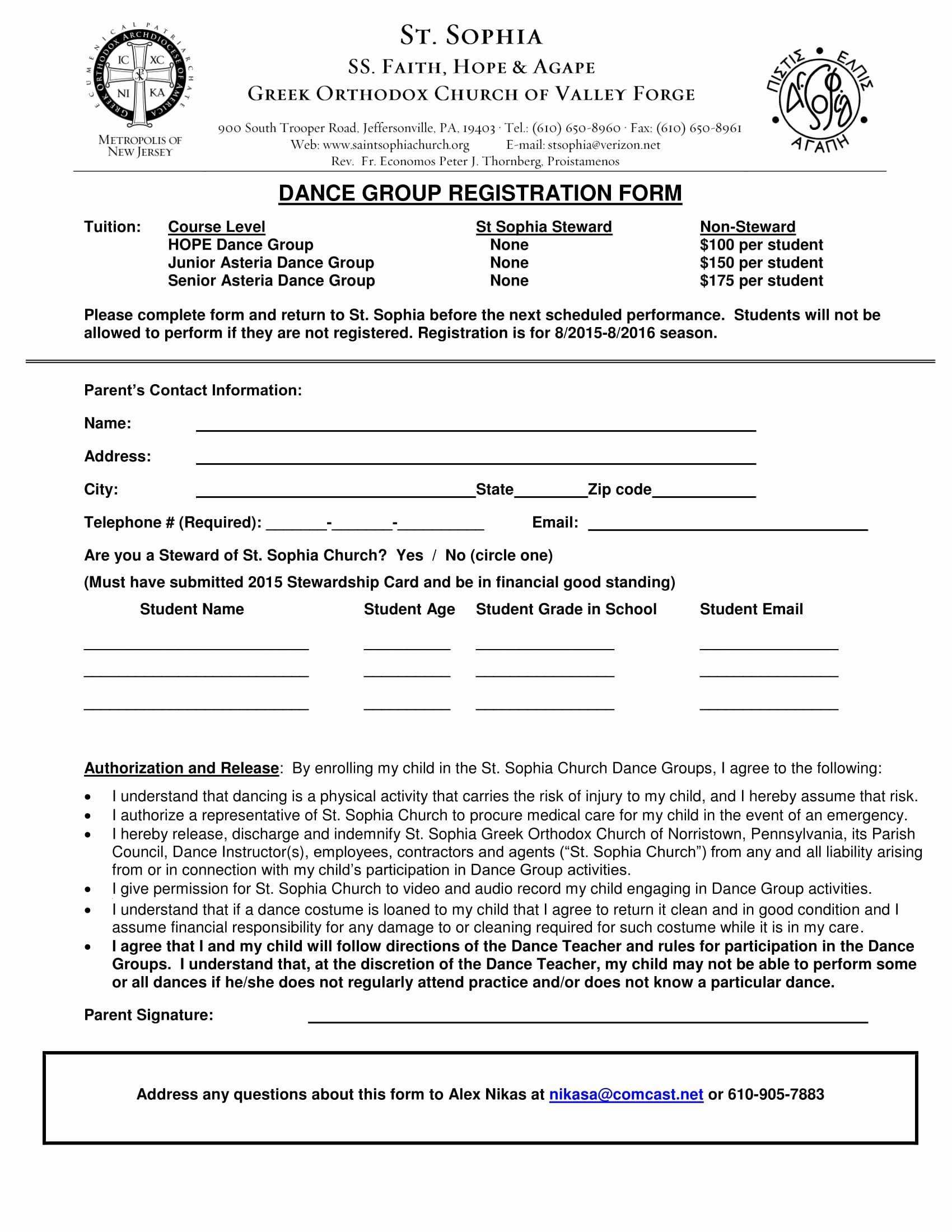 Class Registration form Template Lovely Free 10 Dance Registration form Samples