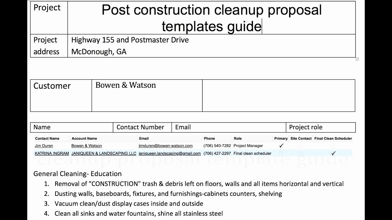 Cleaning Proposal Template Pdf Inspirational Post Construction Cleanup Proposal Templates