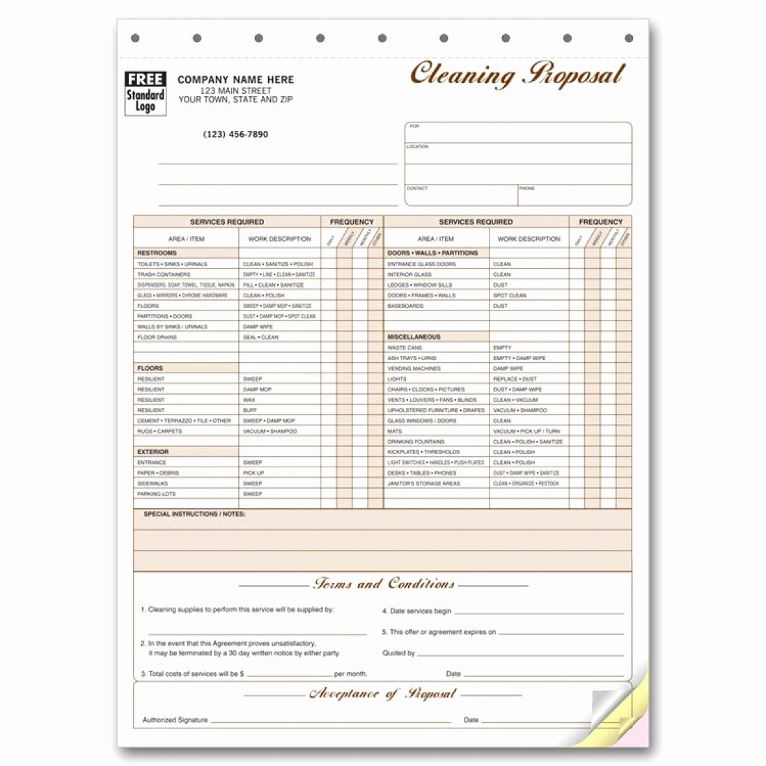 Cleaning Proposal Template Pdf New Cleaning Proposal forms 5521 at Print Ez