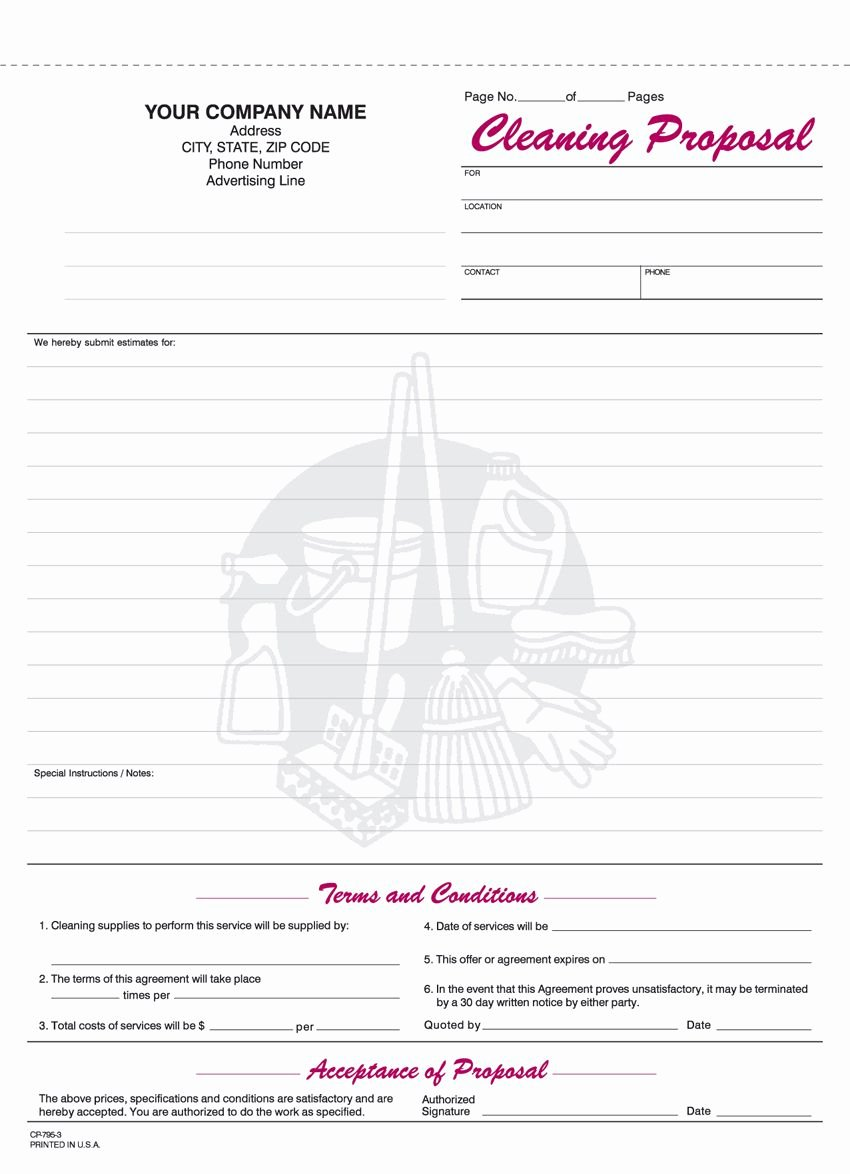 Cleaning Proposal Template Pdf New Free Printable Cleaning Proposal forms