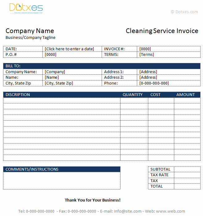 Cleaning Service Invoice Template Awesome Cleaning Service Invoice Template Dotxes
