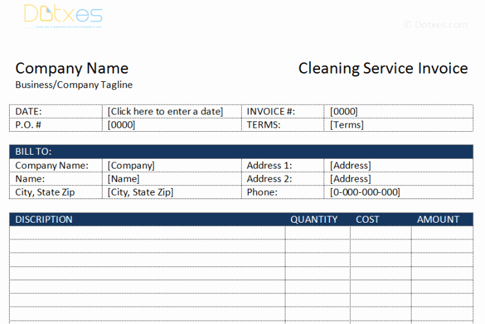 Cleaning Service Invoice Template Beautiful Cleaning Service Invoice Template Dotxes