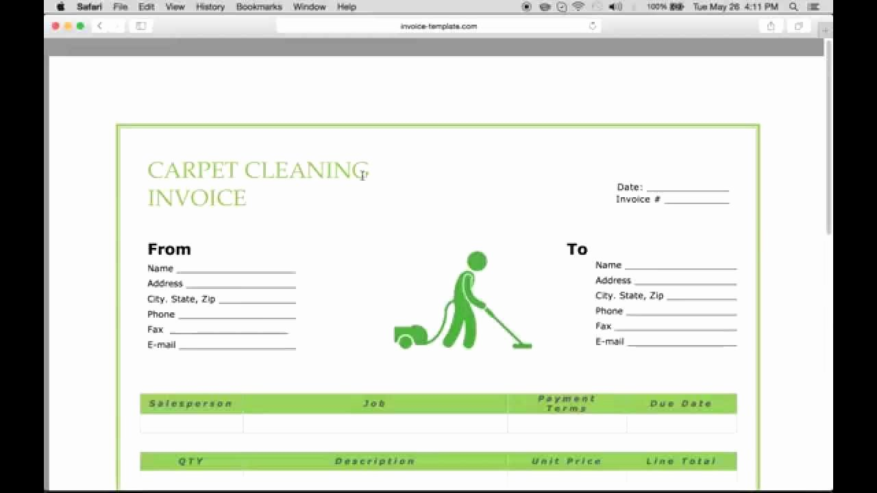 Cleaning Service Invoice Template Fresh Carpet Cleaning Invoice