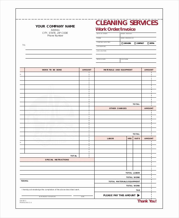 Cleaning Services Invoice Template Fresh Pany Invoice Template 7 Free Word Excel Pdf Document Downloads