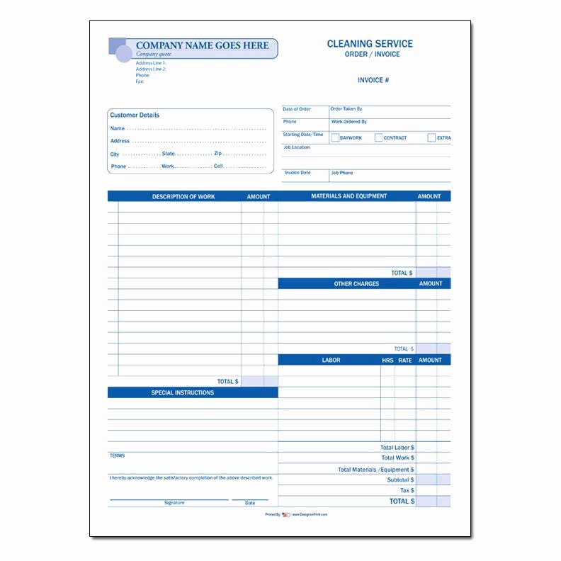 Cleaning Services Invoice Template Lovely Cleaning Invoice Custom Carbonless Printing Pany