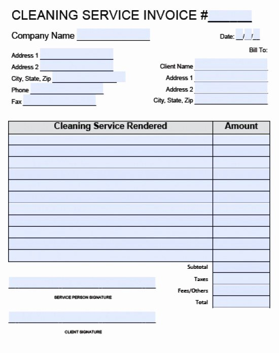 Cleaning Services Invoice Template New House Cleaning Invoice