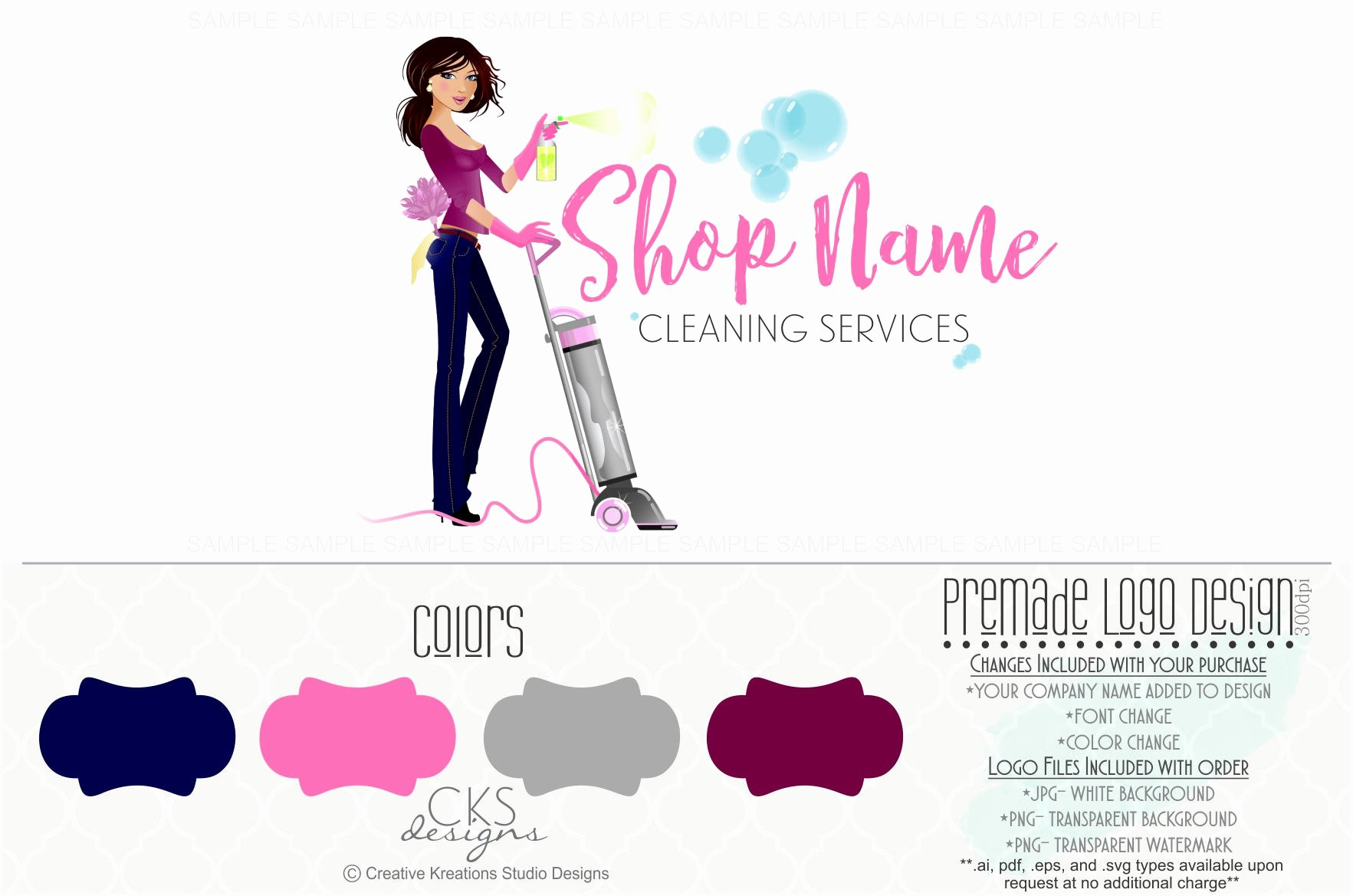 Cleaning Services Logo Templates Beautiful Premade Cleaning Service Logo House Cleaning Logo Maid Logo