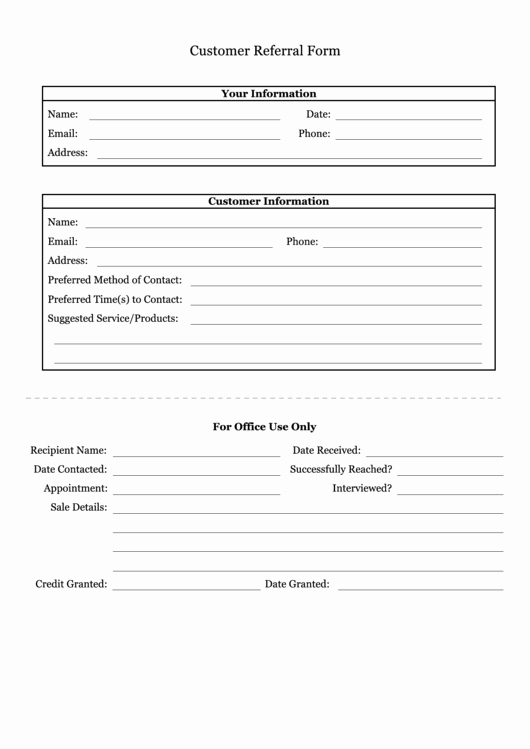 Client Referral form Template Luxury top Customer Referral form Templates Free to In Pdf format