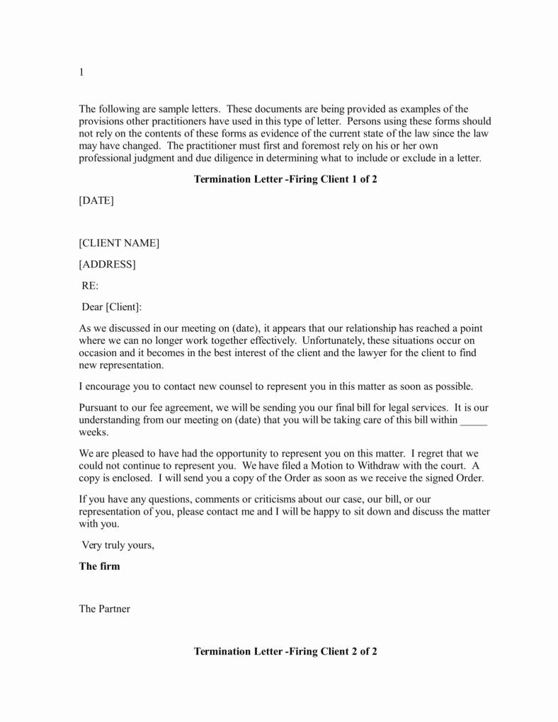 Client Termination Letter Template Elegant Lawyer Termination Letter