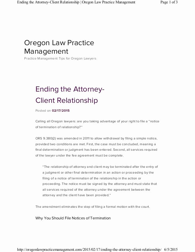 Client Termination Letter Template Lovely Ending the attorney Client Relationship