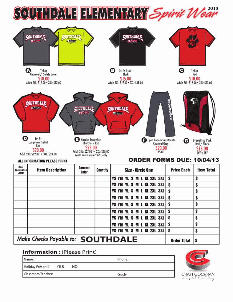 Clothing order form Template Best Of Booster Clubs