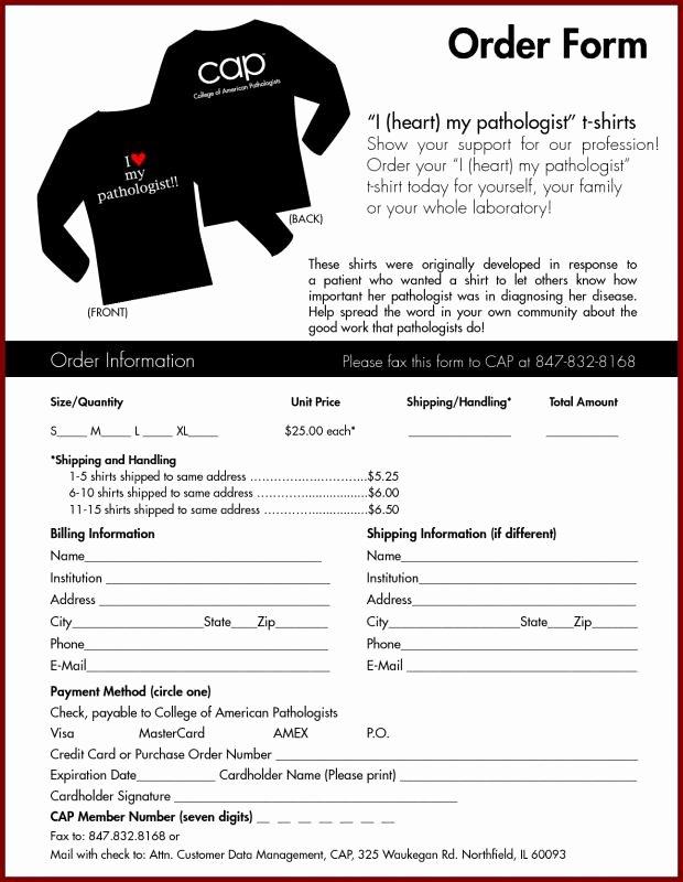 Clothing order form Template Elegant Tshirt order form