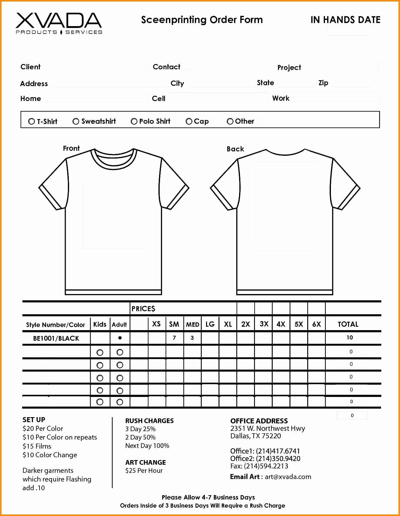 Clothing order form Template Fresh T Shirt Invoice Template