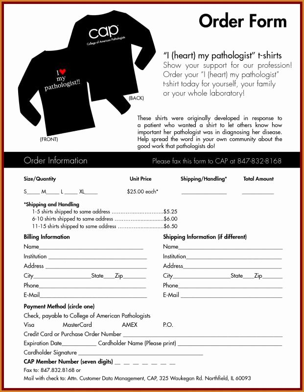 Clothing order form Template New T Shirt order form Template