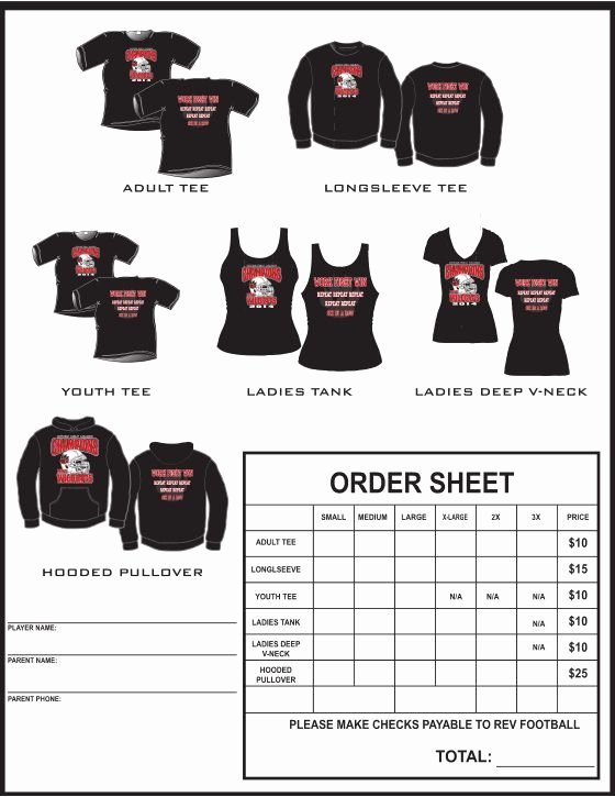 Clothing order form Template Unique Example T Shirt order form Google Search Football Cheer