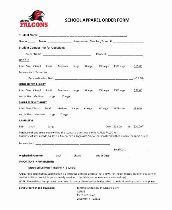 Clothing order forms Templates Awesome 12 Apparel order forms Free Sample Example format Download