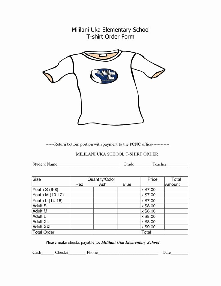 Clothing order forms Templates Fresh School T Shirt order form Template Clothes