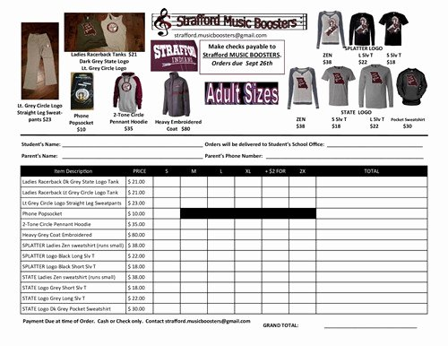 Clothing order forms Templates New Music Booster S Strafford Apparel order Strafford Elementary School