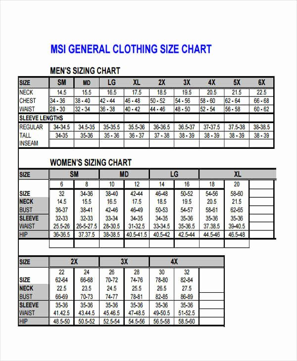 Clothing Size Chart Template Fresh 40 Free Charts