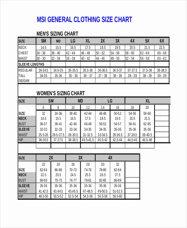 Clothing Size Chart Template Lovely 11 Size Chart Free Sample Example format Download