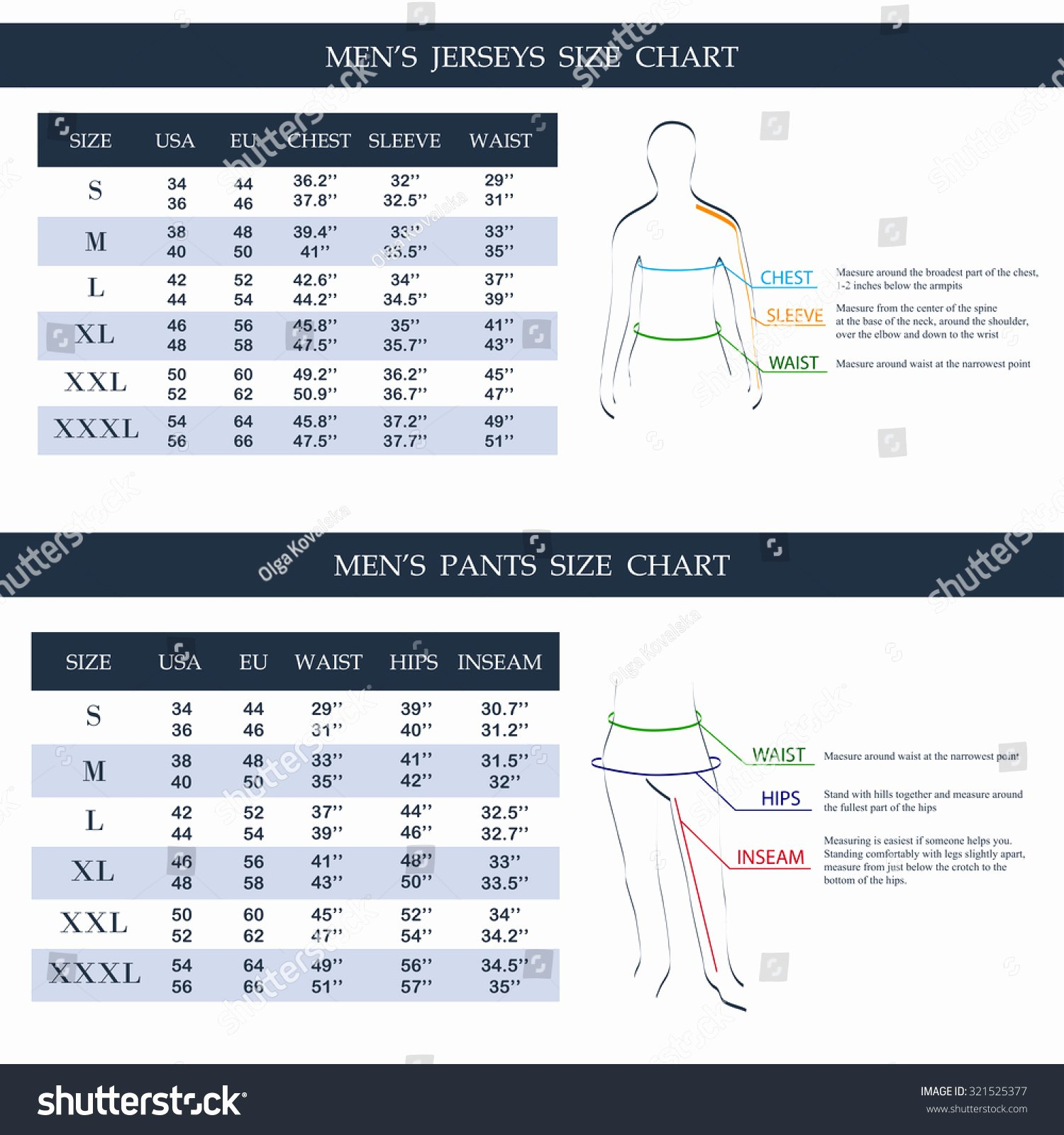 Clothing Size Chart Template Luxury Men S Jerseys Size Chart Men S Pants Size Chart Measurement Diagram Male Body