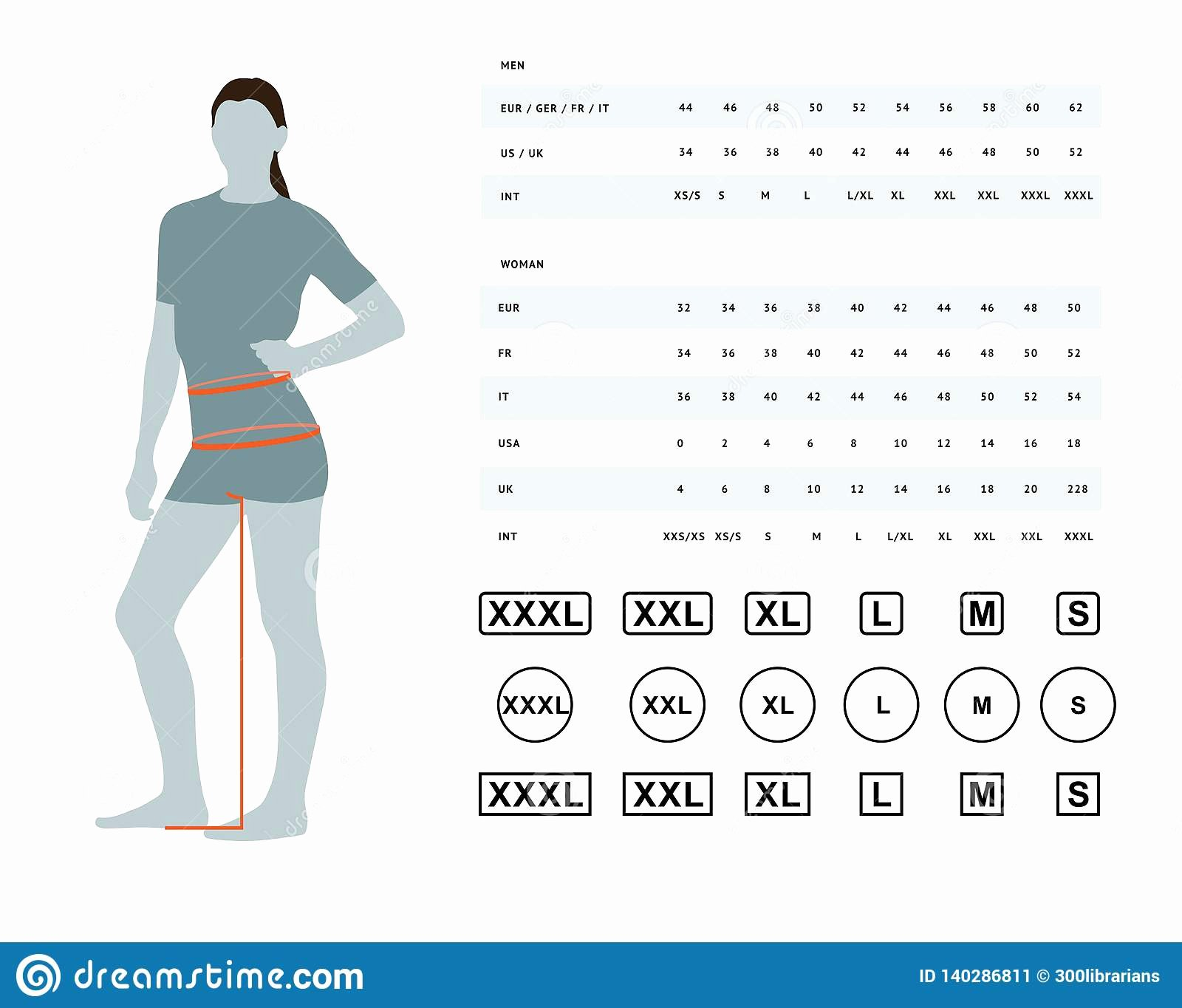 Clothing Size Chart Template Luxury Size Chart for Women Stock Vector Illustration Of Body