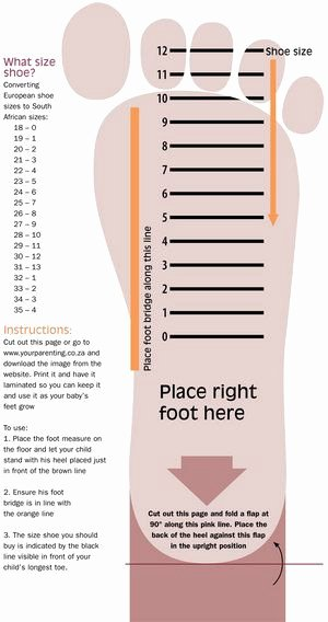 Clothing Size Chart Template New Use This Handy Chart to Measure What Shoe Size Your Little One is south African Sizes