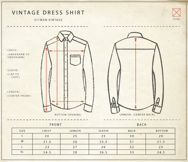 Clothing Size Chart Template Unique Gitman Vintage Size Chart My Style Pinterest