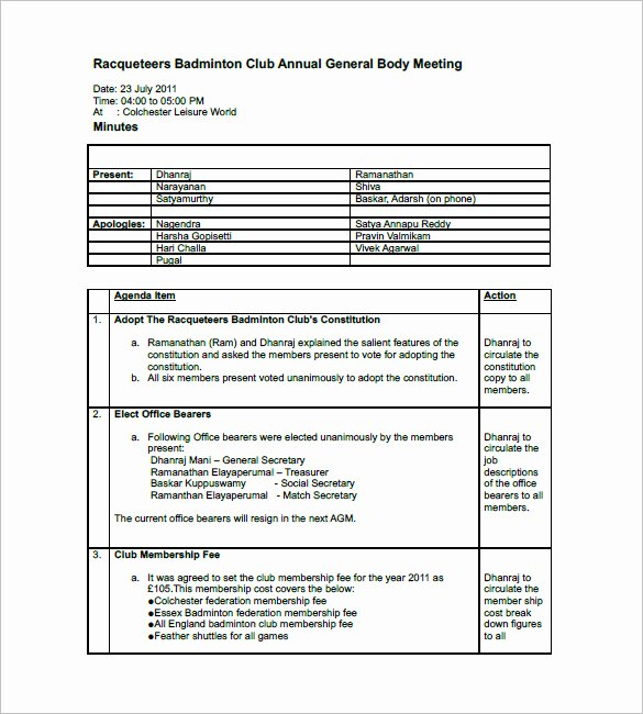 Club Meeting Minutes Template Awesome 13 Club Meeting Minutes Templates Doc Excel Pdf
